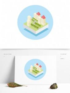 手绘2.5D立体城市建筑场景元素