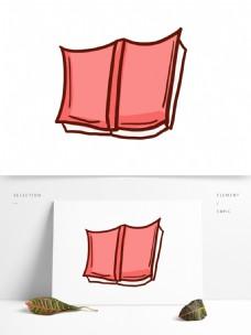 红色简笔书本插画