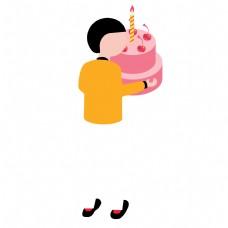 抱着蛋糕的男孩