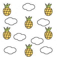 夏日卡通菠萝白云背景