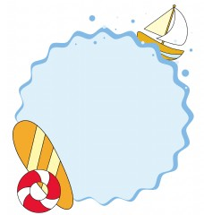 海滩度假夏日清爽蓝色矢量边框