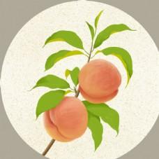 新中式水蜜桃水果装饰画
