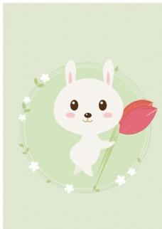 小清新曲线插画兔子