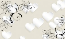 白色爱心花纹背景