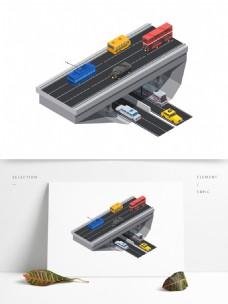 汽车立交桥2.5D立体矢量