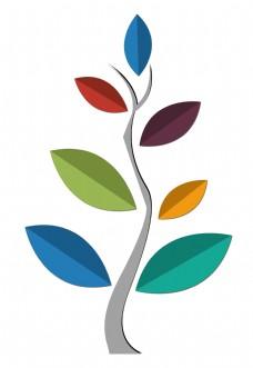 树叶标志PPT图案