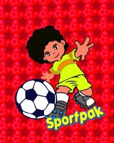 可爱星星底纹足球小子踢足球卡通