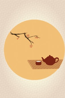 手绘茶艺背景