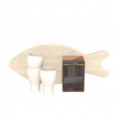 鱼形砧板陶瓷酒杯