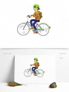 可爱骑行少年装饰元素