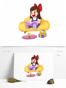 卡通小清新坐在沙发上看书的女孩
