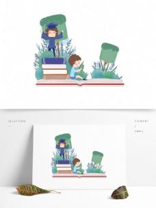 简约读书少年装饰元素