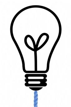 黑色线条灯泡电灯