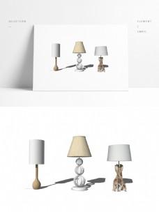 三个简约设计感台灯模型