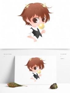 手绘卡通可爱小男孩png素材