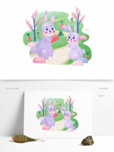 母亲节兔子手绘母亲和孩子动物卡通元素