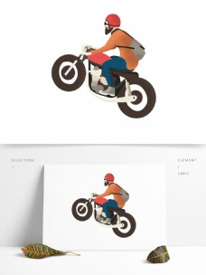 朋克骑摩托车少年装饰元素