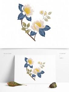 盛开白色花蕊装饰元素
