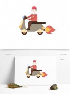 骑着电动车少年装饰元素