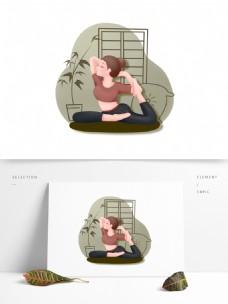瑜伽锻炼少女装饰元素