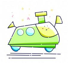 绿色卡通汽车