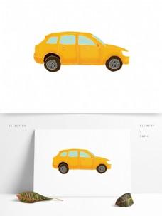 清新黄色汽车装饰元素