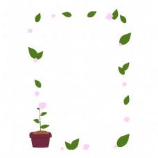 盆栽花边框