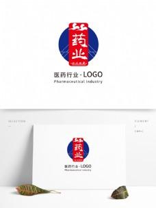 医药行业LOGO通用模版祥云中国风撞色