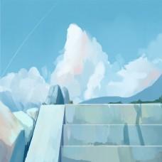 户外蓝天白云卡通手绘背景图