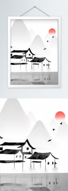 93中式江南水乡水墨手绘竖版装饰画