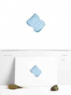蓝色卡通书图案素材