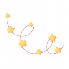 黄色可爱六一儿童节星星灯饰