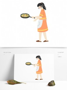人物母亲做饭插画