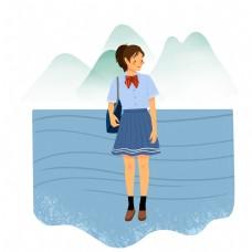 夏天在海边的女孩