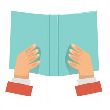 拿书本读书手势