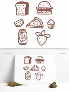 汉堡西瓜草莓可乐面包披萨免扣素材