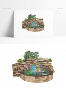 假山假水SU常用景观模型