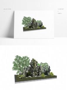 园林假山草图大师模型