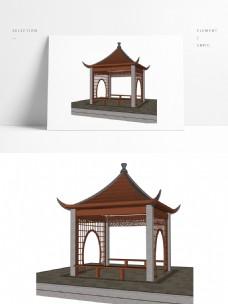 常用景观四角亭SU模型