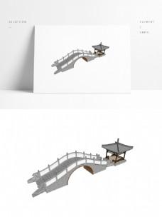 景观廊桥四角亭SU模型