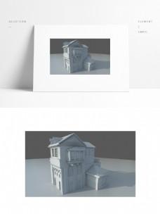 别墅洋房小场景单独模型矢量图