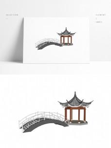 常用四角亭小桥SU模型