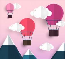 创意雪山上空的热气球