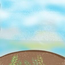 蓝天白云黑土地背景图