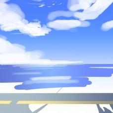 蓝天白云清新简约背景图