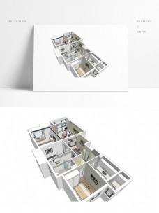 三房样板房SU透视模型