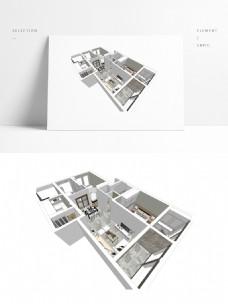 极简风SU透视住宅模型