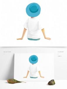 彩色卡通男孩背影人物元素