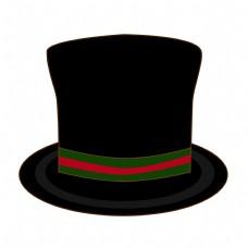 父亲节卡通黑色礼帽元素