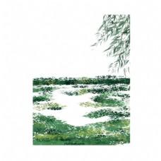 草地上的杨柳枝